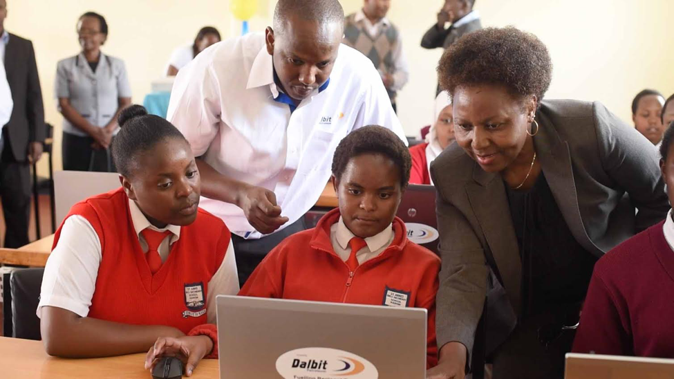Group Managing Director Margaret Mbaka during the commissioning of 26 laptops at St. Anne's Girls' Secondary School