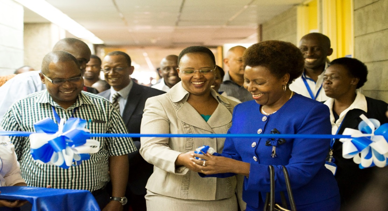 Dalbit Petroleum Managing Director Margaret Mbaka (right) with Kenyatta National Hospital Chief Executive Officer Miss Lily Koros during the opening of Pediatric ward 3A
